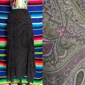 LRL Paisley Pleated Silk Midi Skirt